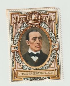 Lord Roberts Memorial 1916 Appeal- Rt Hon Sir Edward Carson, poster stamp MH