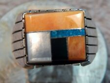 Men's Silver Turquoise Spiny Oyster Inlay Ring Ray Jack Size 11 1/4