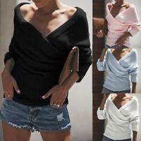 Femmes Sexy au large de l'épaule pull Casual v-cou tricoté lâche Long Sleeve Pu