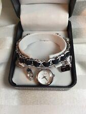 New in Box  Anne Klein Ladies watch charm bracelet Black Silver Tone NEW BATTERY
