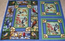 Backyard Birds Hummingbird Quilt & Pillow Panels Fabric Cotton Wildlife