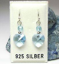 Neu 925 Silber OHRHÄNGER Herz SWAROVSKI STEINE & PERLEN blau/aquamarine OHRRINGE