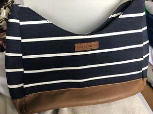 Brakeburn Hobo Bag Blue And White Striped Cotton Vegan Faux Leather Nautical