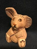 Vintage Artesania Rinconada Bunny Hand Carved Clay Figurine