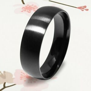 New Men's Jewelry Titanium Black 7mm Thin Dome Christmas Gifts Ring UKCSK 099