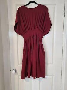 Wayward Fancies eShakti Burgundy Dress Gathered Waist Fit & Flair 10/M