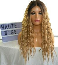 32 INCHES WIG OMBRE DARK BLONDE BROWN WAVY CURLY HUMAN HAIR LAYERED LACE FRONT