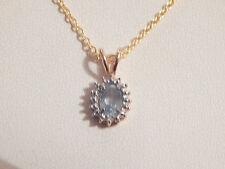 Vintage-9ct Gold, Sterling Silver, Blue Topaz & Diamond Pendant -Deceased Estate