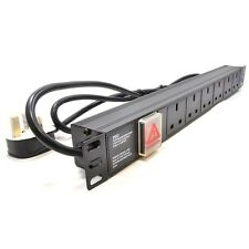 1U 6 Way 13A PDU 19 Inch Rack Switch Horizontal Mount Power Distribution Unit