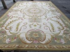 Old Hand Made French Design Wool Green Grey Original Aubusson 521X356cm