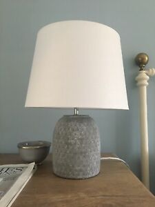 Ceramic Lamp (Bedside?) & Lightshade (Grey Base / Chalk White Shade) - OKA style