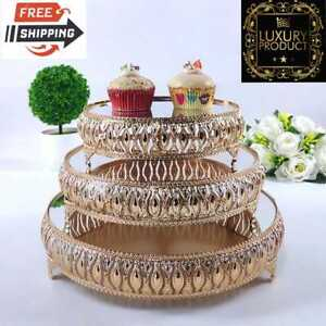 Gold⭐Metal Wedding🎂Cake Stand Home Party🎉Mirror Dessert🍰Cupcake Display Tray