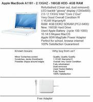 Apple MacBook A1181 13'' 2.13GHz / 160GB HD / 4GB RAM / Mojave MacOS /  B+!