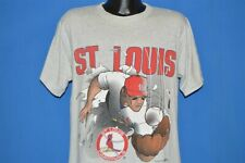 vintage 90s ST LOUIS CARDINALS DIVING OUTFIELDER 2 SIDED GRAY t-shirt BASEBALL L