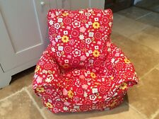 Handmade Children's Beanbag Chair Cover, Red Posy Floral