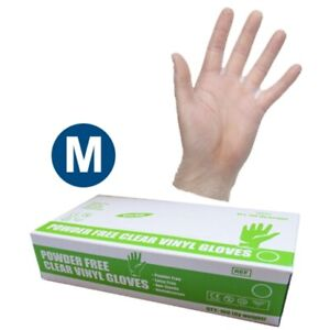 Disposable Clear Vinyl Gloves - Medium - Powder Free, Extra Strong - Box of 100