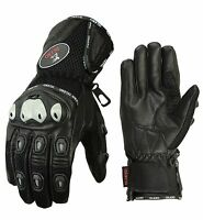ISLERO All Weather Leather Motorbike Motorcycle Gloves Knuckle Protection Mesh