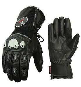 ISLERO All Weather Leather Summer Winter Motorbike Motorcycle Gloves Knuckle