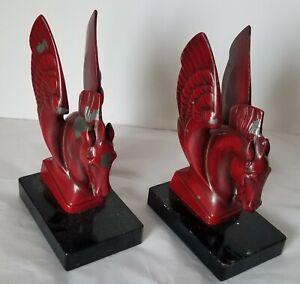 RED WINGED HORSE PEGASUS  BOOKENDS - DOORSTOP- CAST METAL