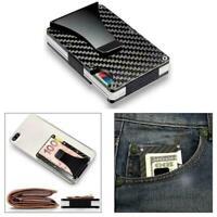 RFID card holder multifunctional carbon metal card box  anti-theft holder I6Z6
