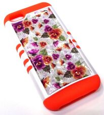 for iPhone 5c Purple Orange Flower Crystal Design Hard/Soft Hybrid Koolkase Case