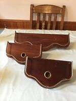 Home & Interiors & Gifts Wood Wall Shelf 16 1/2 x 5 3/4 x 6 PLUS Candle Holders