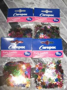PARTY CONFETTI BAGS X 4  HAPPY BIRTHDAY AND STARS DECORATION PARTIES