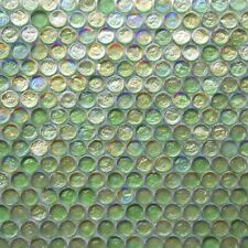 Emerald Green Iridescent Penny Round Glass Mosaic Tile