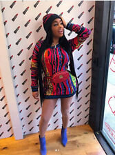 NEW Fashion Women's O Neck Long Sleeves Colorful Print Bodycon Package Hip Dress