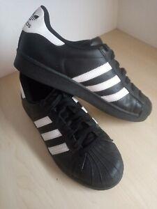 Mens Adidas Superstar Black White Leather Trainers UK 8 EU 42