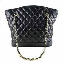 Chanel CC Black Leather Quilted Double Chain Gold Hardware Shoulder Bag
