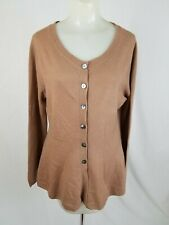 PURE COLLECTION Brown 100% CASHMERE Cardigan Sweater Womens Size 6