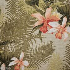 TOMMY BAHAMA Orchid Palm Tropical Green Coral 3pc FULL QUEEN QUILT SET