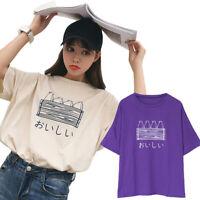 Women Cartoon Print Tee Tops Harajuku Summer Casual Short Sleeve Cotton T ME