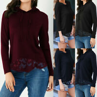 Women Hooded Sweatshirt Long Sleeve Autumn Hoodie Lace Pullover Top Blouse Shirt