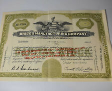 Briggs Manufacturing Company stock certificate for 6 shares