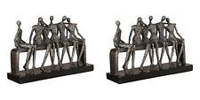 PAIR MODERN ART TEXTURED AGED FINISH ART PEOPLE ON BENCH SCULPTURE STATUE
