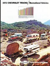 1972 Chevrolet Camper and Truck 20-page Sales Brochure - Motorhome Winnebago