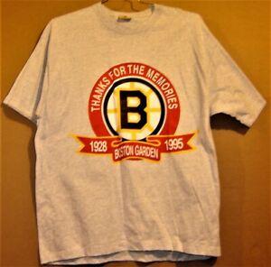 """BOSTON BRUINS """"THANKS FOR THE MEMORIES"""" 1928-1995 BOSTON GARDENS T-SHIRT"""