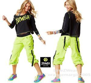 ZUMBA CARGO PANTS Convert to Capri+Boatneck Light Sweat Shirt Top -2Pc.Set! M L