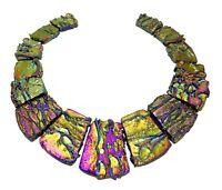 😏 Achat Perlen bunt galvanisierte Trapez-Scheiben mit Struktur Collier Set 😉