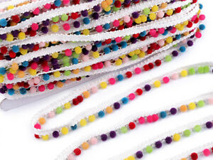 Farbe:Rosa Pomponborte Bommel Sadingo Bommelborte dekorieren 5mm Breit kleben Pomponband 1 Meter n/ähen Pompons Bommelband