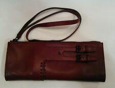 "Authentic Gucci Burgundy Leather Clutch 11""L X 4 1/2""W w/17"" Handle Purse Bag"