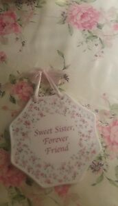 Shabby chic ceramic pink roses sister sign plaque
