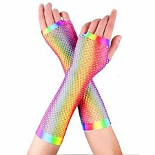 Adults 80s 90s Disco Rainbow Neon Rave Pride Fishnet Long Gloves Party Accessory