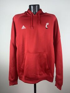 Men's Adidas Cincinnati Bearcats Red Pindot Pullover Hooded Sweatshirt NWT 2XL