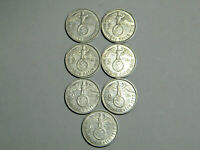 1938 7-WWII German 🇩🇪 2 Reichsmark Silver Coins Mint Mark Set Large Swastika