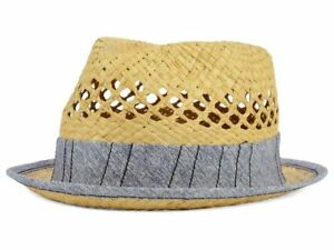 Block Headwear Straw Natural Vented Trilby Cap Hat with Gray Band