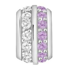 Lovelinks Bead Sterling Silver, Two Tone Clear & Amethyst CZ Charm TT448CZAM