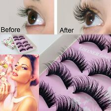 5 Pair Natural Long Thick Handmade Wispies Beauty Womens Lady False Eyelashes